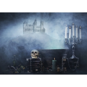 Scary Skeleton Skull Halloween Party Backdrop Decoration Prop Background