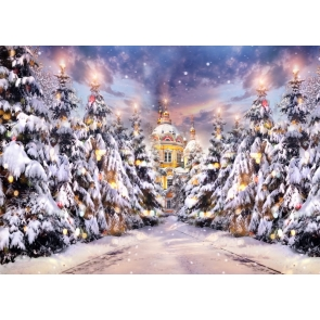Snow Covered Gold Castle Christmas Tree Forest Christmas Stage Backdrops Party Photography Background