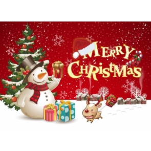 Cartoon Snowman Christmas Tree Backdrop Merry Christmas Party Photography Background