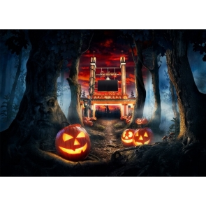 Dryad Forest Pumpkin Halloween Backdrop Party Stage Photography Background