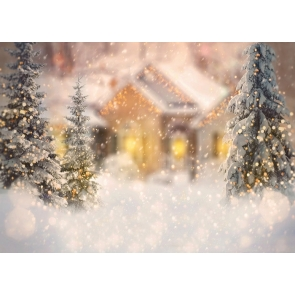 Glitter Bokeh Snowflake Christmas Tree Backdrop Stage Photography Background