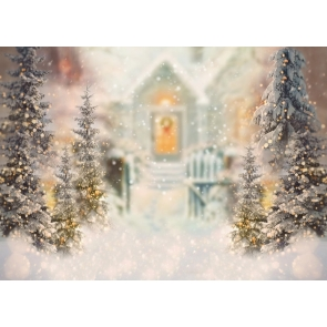 Snowflake Christmas Tree Glitter Bokeh Backdrop Stage Photography Background