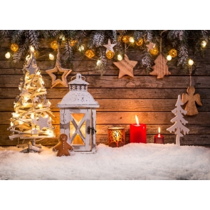 Fairy Lights Decoration Wood Wall Christmas Tree Backdrop Stage  Party Photography Background