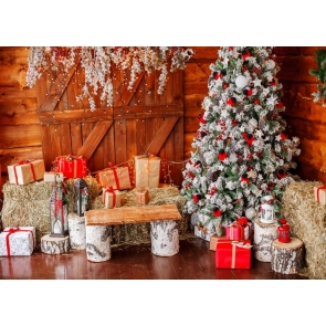 Wood Wall Haystack White Christmas Tree Backdrop Stage Party Photography Background