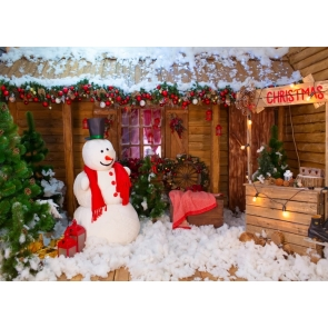 Snowman Wood House Christmas Photo Booth Backdrop Stage Photography Background