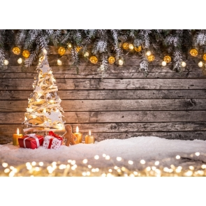 Christmas Lights Decoration Wood Wall Christmas Tree Backdrop Stage Party Photography Background