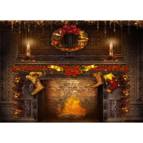 Medieval Building Retro Brick Fireplace Backdrop Christmas Party Backdrop Stage Photography Background