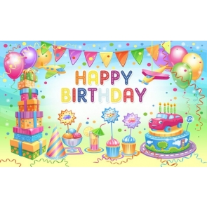 Cake Theme Banner Balloon Girl Boy Happy Birthday Backdrop Decorations Photography Background