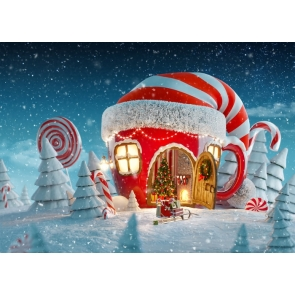 Snow Covered Christmas Hat House Christmas Party Backdrop Stage Photography Background