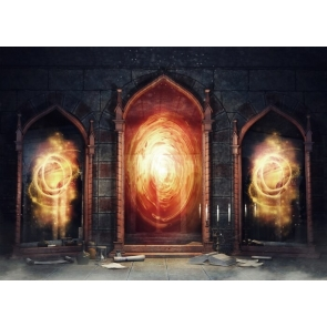 Spooky Night Castle Dark Chamber Magic Mirrors Arch Door Flame Backdrop Video Photography Background
