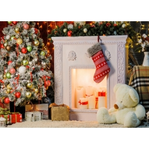 White Fireplace Christmas Party Backdrop Stage Photography Background