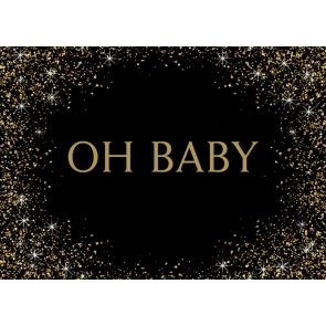 Black And Gold Glitter Oh Baby Shower Birthday Backdrop Photography Background