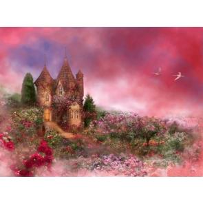 Wonderland Pink Sky Flower Castle Background For Party Photography Backdrop