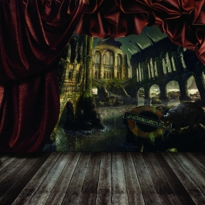 Ruin City Wood Floor Stage Background Halloween Party Backdrops