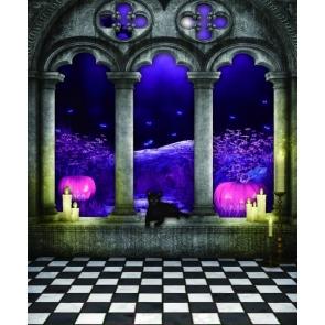 Black White Grid Floor Purple Pumpkins Stage Party Halloween Backdrops