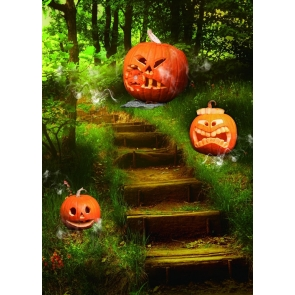 Scary Pumpkin On The Forest Trail Halloween Backdrop