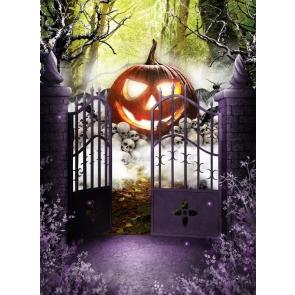 Iron Fence Door Inside Large Pumpkin On Skull Halloween Backdrop