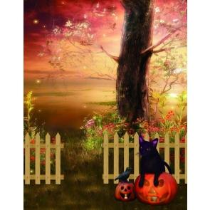 Under The Big Tree Black Cat On Pumpkin Halloween Backdrop
