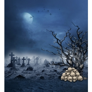 Grey sky Cemetery Skull Withered Tree Spider Web Halloween Backdrop