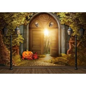Halloween Forest Pumpkin Skull Door Halloween Backdrop