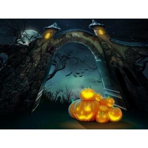 Stone Gate Wall Pumpkin Theme Background Halloween Backdrop