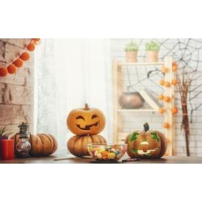 Spider Web Pumpkin Theme Candy Halloween Backdrop