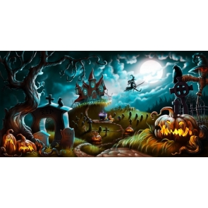 Magical World Castle Flying Witch Scary Pumpkin Halloween Backdrop
