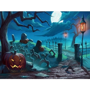 Scary Pumpkin Like Stone Large Withered Tree Halloween Backdrop