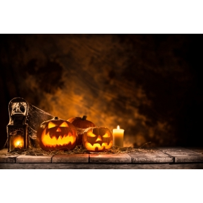 Halloween Pumpkin Lanterns Candle on Wood Floor Background Drops for Photography