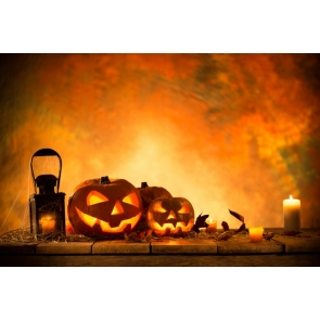 Halloween Pumpkin Lanterns Candles on Wood Floor Professional Photography Backdrops