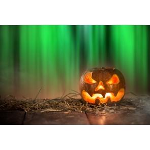Halloween Pumpkin Lantern on Straw Green Light Photo Drop Background
