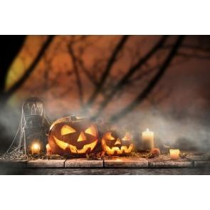 Pumpkin Lanterns on Straw Candles Halloween Party Photo Prop Background
