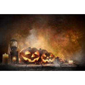 Pumpkin Lanterns on Straw Candles Spider Web Halloween Party Drop Studios Backdrops