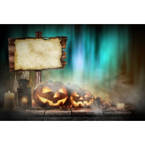 Halloween Pumpkin Lanterns Candles on Straw Board Party Photography Background Props