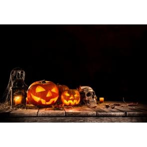 Halloween Party Pumpkin Lanterns Skull Candles on Straw Black Background Camera Backdrops