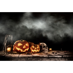 Halloween Party Pumpkin Lanterns Skull Candles on Straw Smoke Fog Photography Photo Backdrops