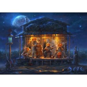 Blue Night Sky Background Music Parties Wearing Pumpkin Masks Halloween Backdrop
