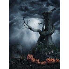 Horrible Scary Night Sky Withered Tree Pumpkin Halloween Party Backdrop