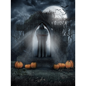 Night Sky Withered Rattan Priest Sculpture Pumpkin Halloween Backdrop Party Background