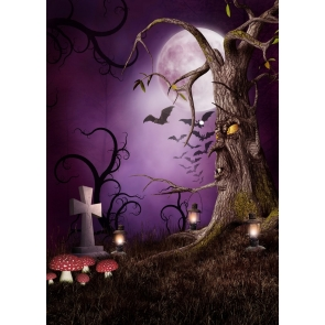 Withered Tree Monster Bat Moon Halloween Background Photography Backdrop