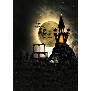 Cartoon Castle Golden Big Moon Bat Magical Halloween Backdrop Photography Background