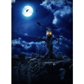 Horror Tree Monster Night Scary Halloween Party Backdrop Outdoor  Background Halloween Decorations
