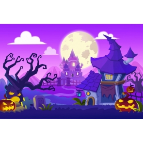 Anime Fairy Tale Style Castle Pumpkin Theme Cute Halloween Backdrop