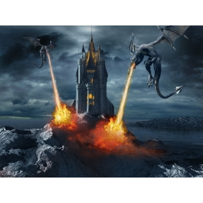 Cool Dragon Spitfire Castle Halloween Party Backdrop Decorations Outdoor Background