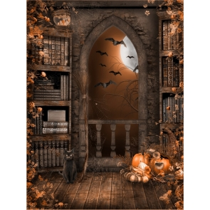 Vintage Medieval Bookshelf Pumpkin Theme Halloween Backdrop Decorations Background