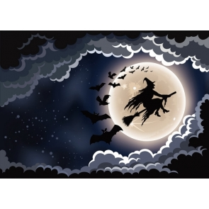 Witch Riding Broom Flying On Moon Halloween Party Backdrop