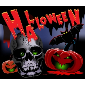 Pumpkin Skull Theme Banner Halloween Party Backdrop