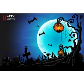 Black Tree Scary Pumpkin Blue Moon Halloween Party Backdrop