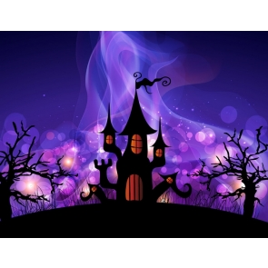 Purple Night Sky Castle Decorations Outdoor Background Halloween Backdrop