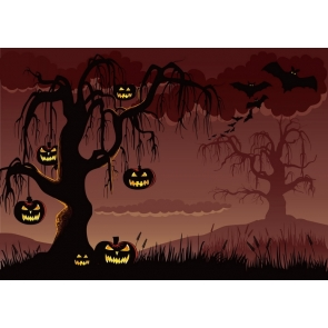 Hanging On Black Tree Scary Pumpkin Halloween Backdrop Decorations